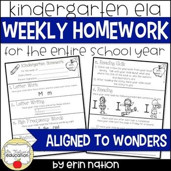 Weekly Kindergarten Homework {70 pages of ELA activities}