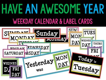 Weekly Label Cards Set : Black and White
