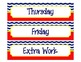 Weekly Label Inserts for Sterlite Drawers - Chevron/Nautical Style