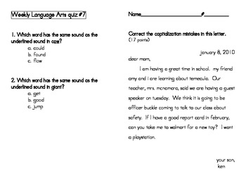 Weekly Language Arts Quizzes-2nd Grade