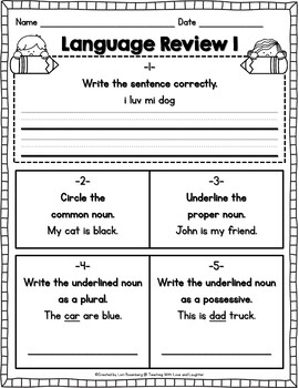 Weekly Language Review Sheets FREEBIE...First Grade