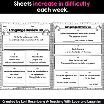 Weekly Language Review Sheets...First Grade