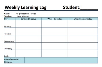 Weekly Learning Log and Parent Communication Tool