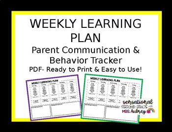 Weekly Learning Plan/Behavior Tracker- editable word document