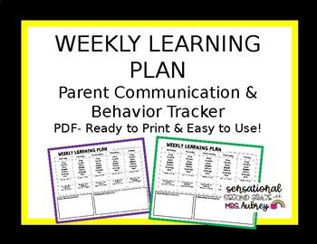 Weekly Learning Plan/Behavior Tracker- editable word document