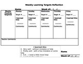 Weekly Learning Target Reflection Sheet