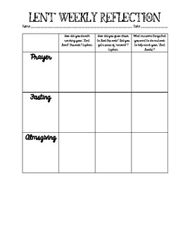 Weekly Lent Reflection Worksheet