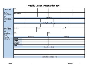 Weekly Lesson Observation Tool