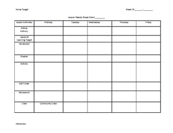 Weekly Lesson Plan Block