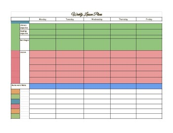 Weekly Lesson Plan Form with Reflection Journal