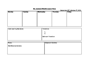 Weekly Lesson Plan Format