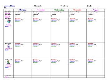 Weekly Lesson Plan Master