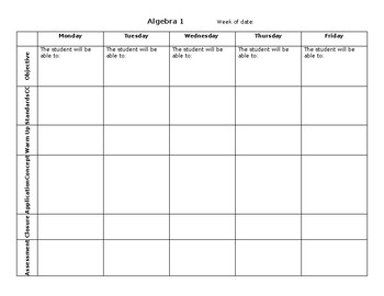Weekly Lesson Plan Outline