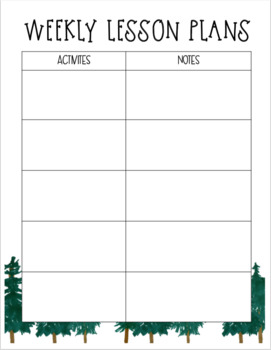 Weekly Lesson Plan Outline - Outdoor/Camping Theme