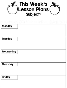 Weekly Lesson Plan Printable