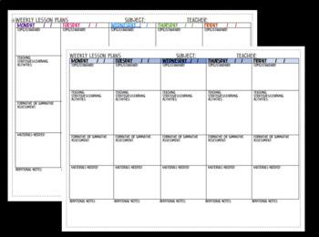 Weekly Lesson Plan Printable PDF