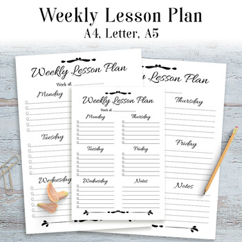 Weekly Lesson Plan Template Printable Simple Easy 1 Page Lesson