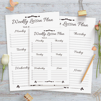Weekly Lesson Plan Template Printable, Simple, Easy, 1 Page, Lesson Planner