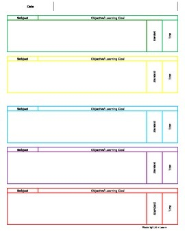 Lesson Plan Template (Weekly)