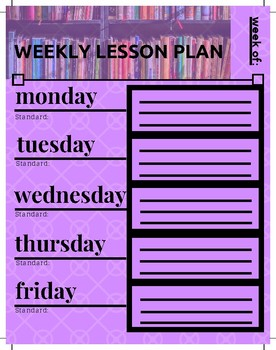 Weekly Lesson Plan Template - Purple