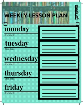 Weekly Lesson Plan Template - Blue