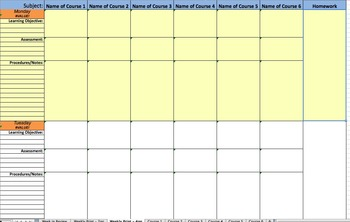 Weekly Lesson Plan Template - Detailed Excel File