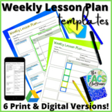 Weekly Lesson Plan Template Editable Print or Google Slide