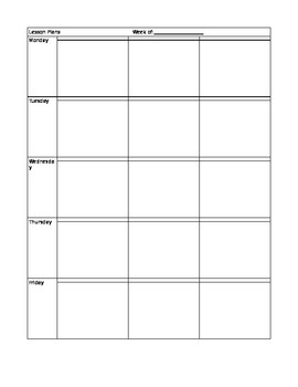 Free Weekly Lesson Plan Template Editable