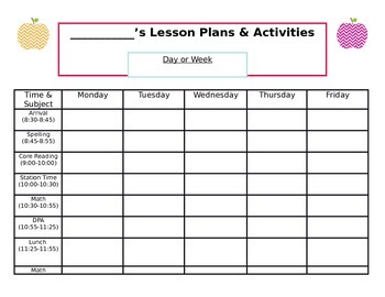 Weekly Lesson Plan Template (Editable)
