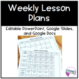 Weekly Lesson Plan Template | Editable | PPT | Google Slid