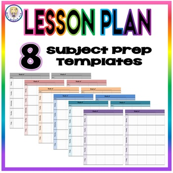 Weekly Lesson Plan Template Format - Eight Subject Prep