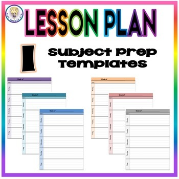 Weekly Lesson Plan Template Format - One Subject Prep