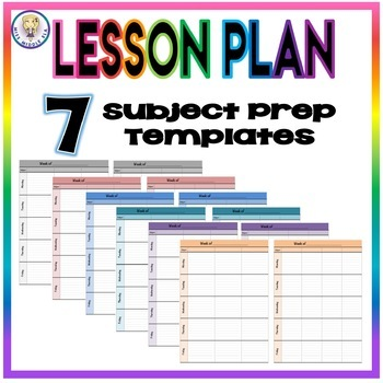 Weekly Lesson Plan Template Format - Seven Subject Prep