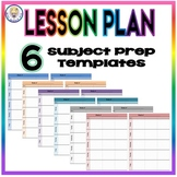 Weekly Lesson Plan Template Format - Six Subject Prep