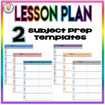 Weekly Lesson Plan Template Format - Two Subject Prep