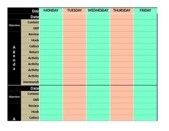Weekly Lesson Plan Template- The Burgoyne Basic