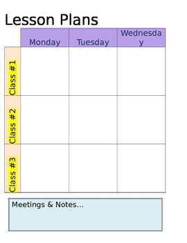 Weekly Lesson Plan Template for 3 Classes