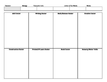 Weekly Lesson Plan Template for Pre-K/Preschool