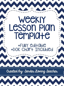 Weekly Lesson Plan Template with DOK Chart - Fully Editable