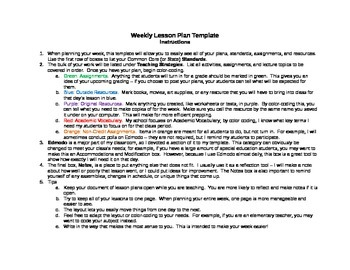 Weekly Lesson Plan Template (with Edmodo!)