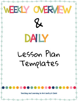 Weekly Lesson Plan Templates - Digital and Editable