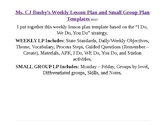 Weekly Lesson Plan and Small Group Templates
