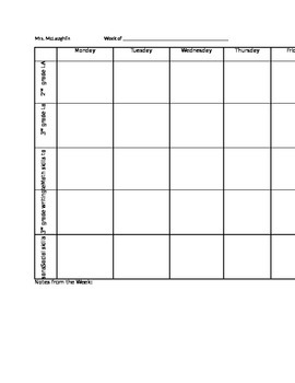 Weekly Lesson Plan for Special Education