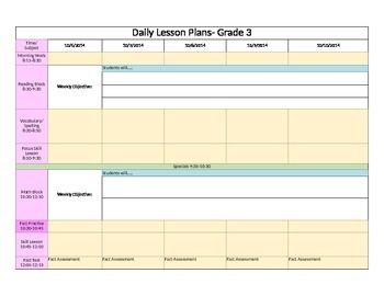 Weekly Lesson Plan with Common Core Standards: Grade 3