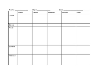 Weekly Lesson Planing Sheet