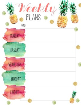 Weekly Lesson Planner PDF ~ Pineapple Watercolor