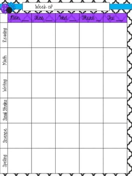 Weekly Lesson Planner Page