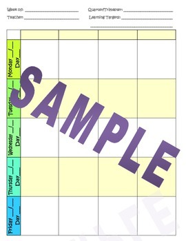 Weekly Lesson Planner Pages - Horizontal
