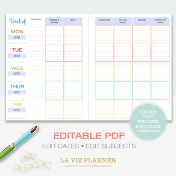 Weekly Lesson Planner | Printable | Class Schedule | Letter Sized | Editable