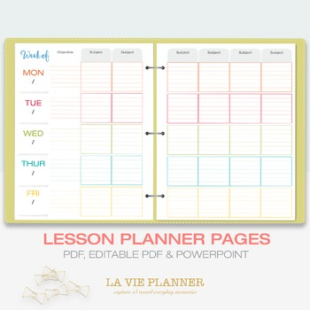 Weekly Lesson Planner | Printable | Class Schedule | Lette